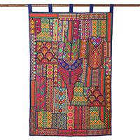 Recycled cotton blend wall hanging, 'Royal Flair' - Colorful Cotton Blend Patchwork Wall Hanging from India