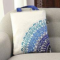 Cotton tote, 'Mandala Fusion' - Embroidered Mandala Motif Cotton Tote from India