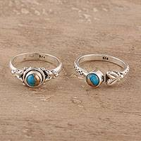Sterling silver and composite turquoise band rings,
