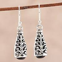 Onyx dangle earrings, 'Magic Nest' - Swirl Motif Onyx Dangle Earrings from India