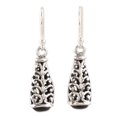 Onyx dangle earrings, 'Magic Nest' - Swirl Motif Onyx Dangle Earrings from India