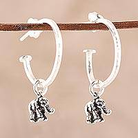 Sterling silver dangle earrings, 'Swaying Elephants' - Sterling Silver Elephant Dangle Earrings from India