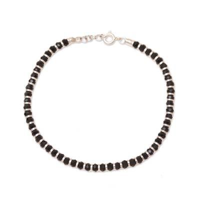 Sterling silver and glass beaded bracelet, 'Midnight Glimmer' - Sterling Silver and Glass Beaded Bracelet from India