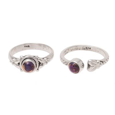 Purple Composite Turquoise and Sterling Silver Rings (Pair)