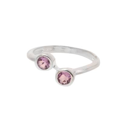 Amethyst band ring, 'Duality' - Faceted Amethyst Band Ring Crafted in India