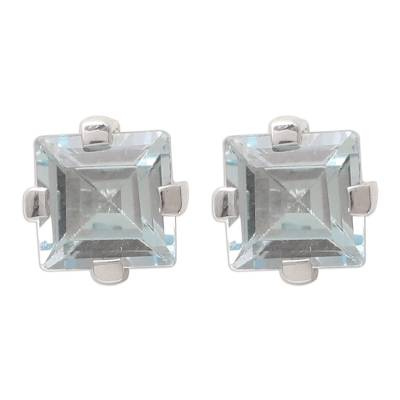 Sparkling Blue Topaz Stud Earrings from India