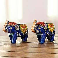 Wood tealight holders, 'Royal Light in Blue' (pair) - Mango Wood Elephant Tealight Holders in Blue (Pair)