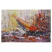 'Fishing Trip' - Signed Expressionist Painting of a Boat from India