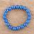 Chalcedony beaded stretch bracelet, 'Lustrous Orbs' - Blue Chalcedony Beaded Stretch Bracelet from India (image 2) thumbail