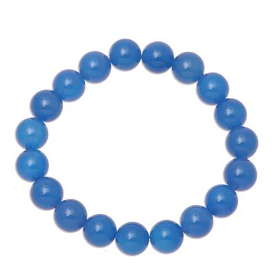 Chalcedony beaded stretch bracelet, 'Lustrous Orbs' - Blue Chalcedony Beaded Stretch Bracelet from India