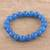Chalcedony beaded stretch bracelet, 'Lustrous Orbs' - Blue Chalcedony Beaded Stretch Bracelet from India (image 2b) thumbail