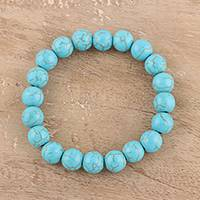 Reconstituted turquoise beaded stretch bracelet, 'Lustrous Sky' - Reconstituted Turquoise Beaded Stretch Bracelet from India
