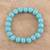 Reconstituted turquoise beaded stretch bracelet, 'Lustrous Sky' - Reconstituted Turquoise Beaded Stretch Bracelet from India thumbail