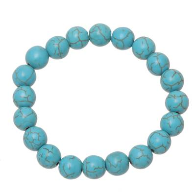 Reconstituted Turquoise Beaded Stretch Bracelet from India