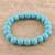 Reconstituted turquoise beaded stretch bracelet, 'Lustrous Sky' - Reconstituted Turquoise Beaded Stretch Bracelet from India (image 2b) thumbail