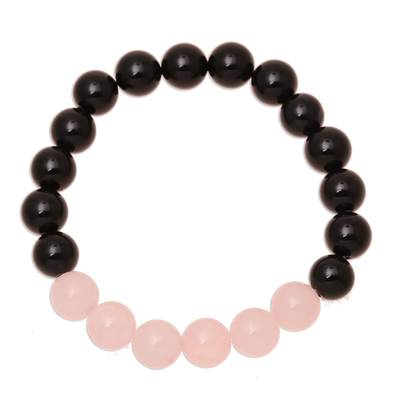Rose Quartz and Onyx Beaded Stretch Bracelet from India