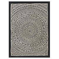 Madhubani painting, 'Village II' - Black and White Traditional Madhubani Painting from India