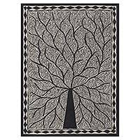Madhubani painting, 'Abode of Birds' - Black and White Madhubani Tree Painting from India