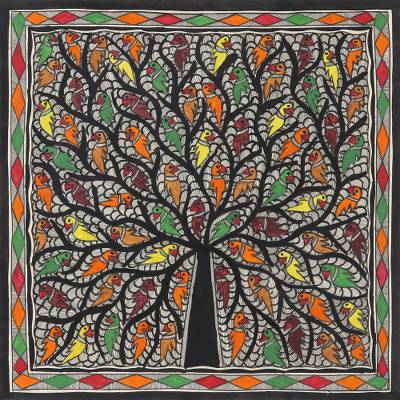 Multicolored Madhubani Tree Painting from India