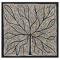 Madhubani painting, 'Tree of Life with Birds' - Colorful Bird-Themed Madhubani Painting from India