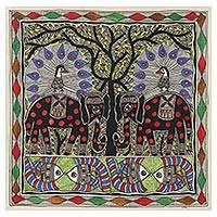 Madhubani painting, 'Glorious Union' - Nature-Themed Traditional Madhubani Painting from India