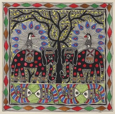 Nature-Themed Traditional Madhubani Painting from India