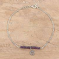 Amethyst beaded anklet, 'Gemstone Love' - Amethyst Beaded Heart Anklet from India