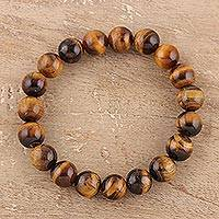 Tiger's eye beaded stretch bracelet, 'Lustrous Orbs' - Tiger's Eye Beaded Stretch Bracelet from India