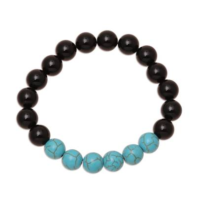 Onyx and Reconstituted Turquoise Beaded Stretch Bracelet