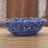 Recycled paper catchall, 'Beautiful Spirals in Blue' - Recycled Paper Catchall in Blue from India