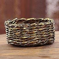 Recycled paper basket, 'Golden Nest' - Gold-Tone Recycled Paper Basket from India