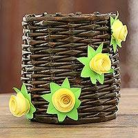 Recycled paper mini basket, 'Floral Glory' - Floral Recycled Paper Mini Basket from India