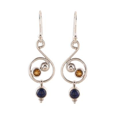 Lapis Lazuli and Citrine Earrings Crafted in India