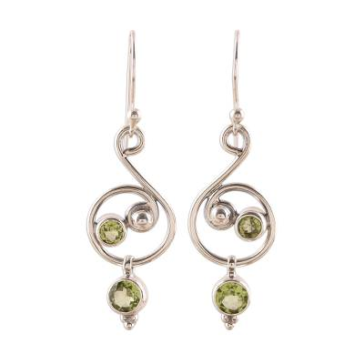 Faceted Peridot Dangle Earrings from India