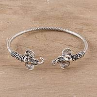 Sterling silver cuff bracelet, 'Elephant Glory' - Sterling Silver Elephant Cuff Bracelet from India