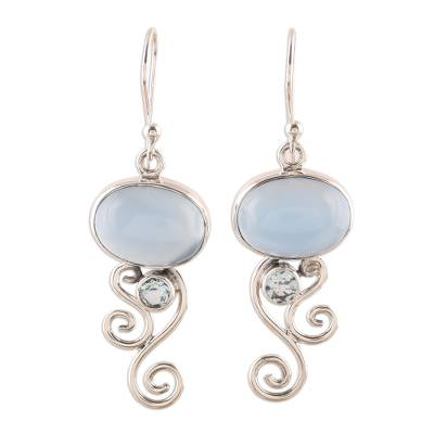 Chalcedony and Blue Topaz Dangle Earrings from India