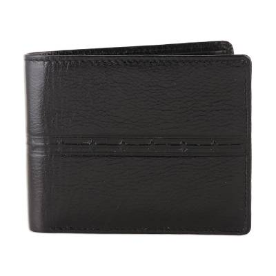 Handcrafted Black Leather Wallet from India