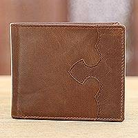 Leather wallet, 'Redwood Classic' - Handmade Leather Wallet in Redwood from India