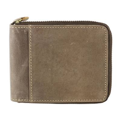 Handmade Leather Wallet in Sepia from India