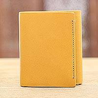 Leather wallet, 'Bold Amber' - Handmade Leather Wallet in Amber from India