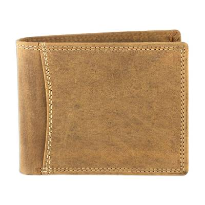 Handcrafted Leather Wallet in Tan from India