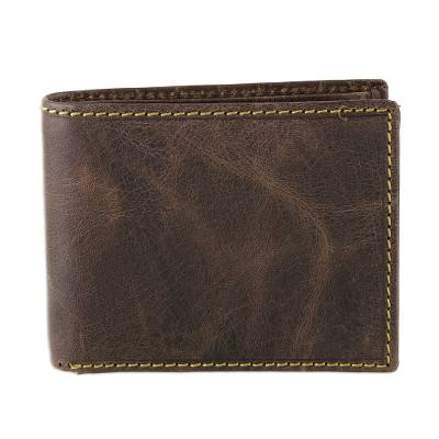Handmade Leather Wallet in Espresso from India