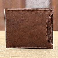 Leather wallet, 'Bold Coffee' - Handmade Leather Wallet in Coffee from India