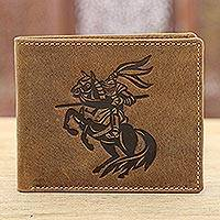 Leather wallet, 'Fearless Knight' - Knight-Themed Leather Wallet Crafted in India