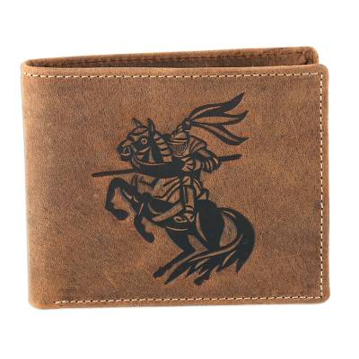 Knight-Themed Leather Wallet Crafted in India
