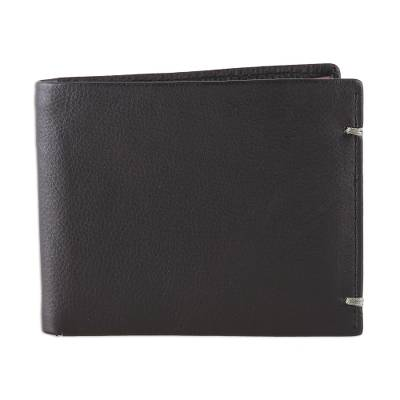 Artisan Crafted Black Leather Wallet from India