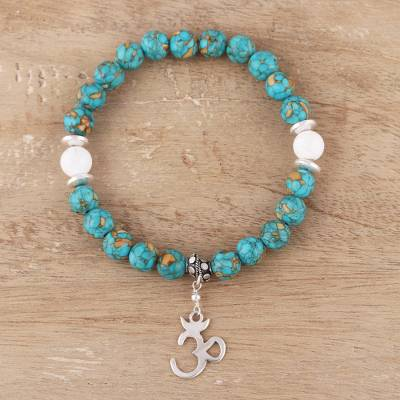 Howlite and composite turquoise beaded stretch bracelet, 'Om Elegance' - Howlite and Composite Turquoise Om Bracelet from India