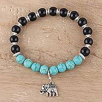 Onyx and composite turquoise beaded stretch bracelet, 'Harmonious Beauty' - Onyx and Composite Turquoise Elephant Bracelet from India