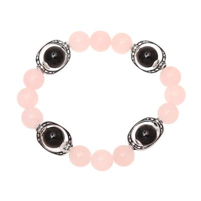 Rose quartz and onyx beaded stretch bracelet, 'Gemstone Glee' - Rose Quartz and Onyx Beaded Stretch Bracelet