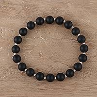 Onyx beaded stretch bracelet, 'Calm Midnight' - Black Onyx Beaded Stretch Bracelet from India